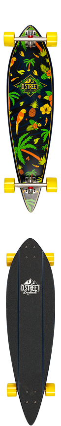 D Street Tropical Pintail Complete Longboard