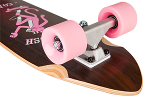 D Street Walnut Kick Push cruiser board truck and wheel detail