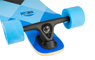 D Street Geo Blue drop down longboard reverse kingpin trucks and wheels