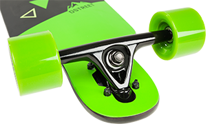 D Street Polygon Tri drop through longboard reverse kingpin trucks and wheels