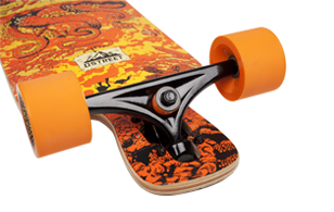D Street Underwater Beached drop through longboard reverse kingpin trucks and wheels