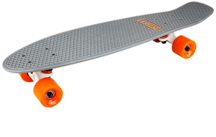 D Street Grande V2 Polyprop Cruiser Grey and Orange angled