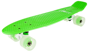 D Street Neon Flash Polyprop Plastic Cruiser Skateboard Green angled wheel