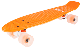 D Street Neon Flash Polyprop Plastic Cruiser Skateboard Orange angled wheel