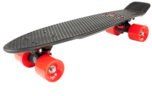 D Street 3rd Gen Polyprop Plastic Cruiser Skateboard Black and Red angled wheel
