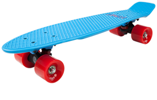 D Street 3rd Gen Polyprop Plastic Cruiser Skateboard Blue and Red angled wheel