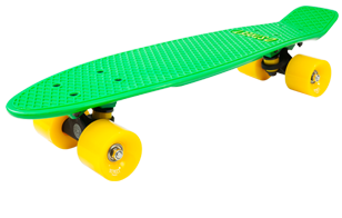D Street 3rd Gen Polyprop Plastic Cruiser Skateboard kelly and Yellow angled wheel