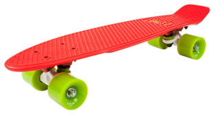 D Street 3rd Gen Polyprop Plastic Cruiser Skateboard Green and Red angled wheel