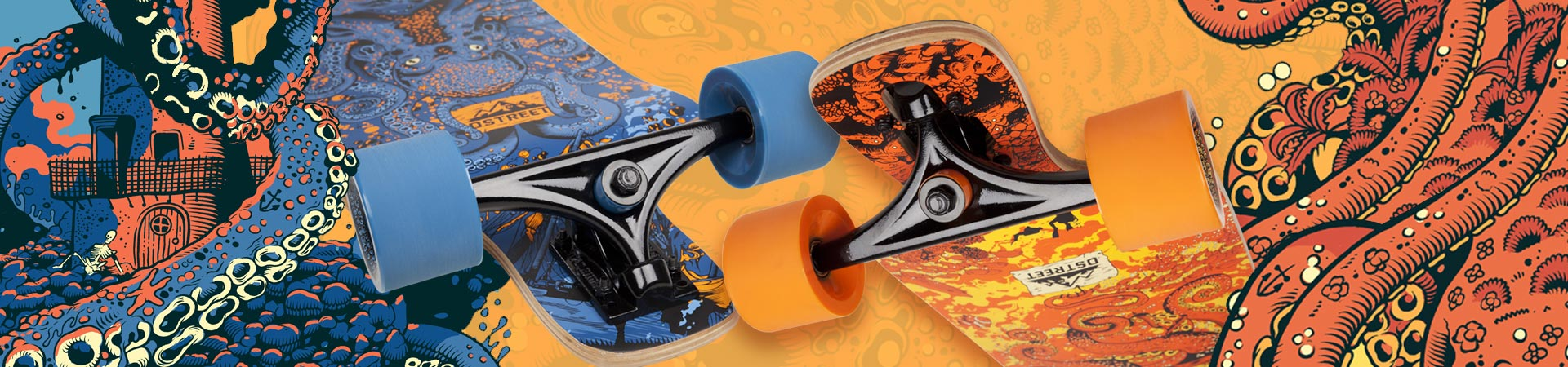 D Street Underwater Series drop down and drop through longboard skateboards - available to buy all over Europe now